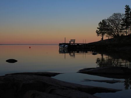 Quiet evening at the shore of Lake Vanern. Biggest lake in Sweden.