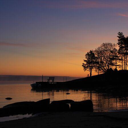 Romantic morning sky over Lake Vanern, Sweden.