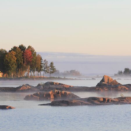 Arrival of autumn at the shore of Lake Vanern, Sweden.