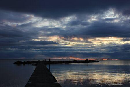 Cloudy summer morning at Lake Vanern, Sweden. Standard-Bild