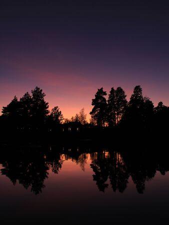 Trees reflecting in Lake Vanern. Standard-Bild