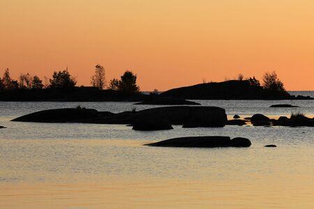 Sunrise scene at the shore of Lake Vanern, Sweden.