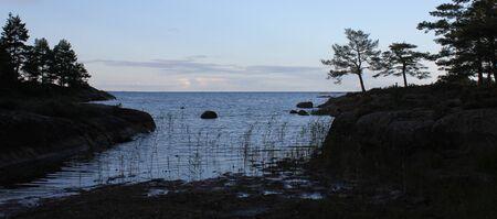 Evening scene at the shore of Lake Vanern, Sweden.