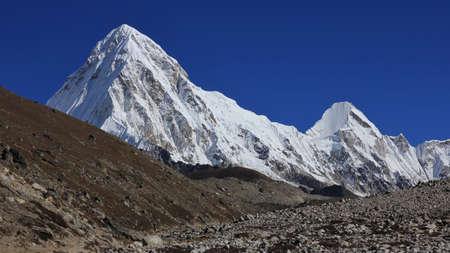 Pumori, high mountain in the Himlayas. Stock Photo