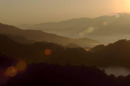 On mountain sunrise
