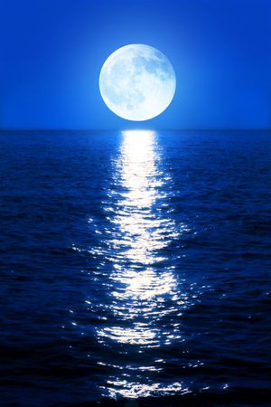 reflects: The moonlight reflects in the sea Stock Photo