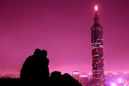 pink city at night