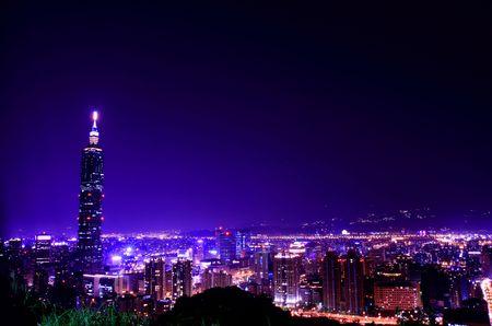 Purple city at night Stock Photo