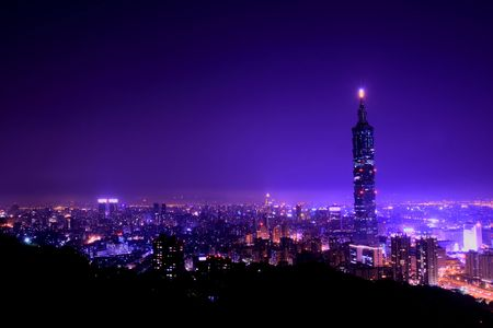 Romantic purple city night scene