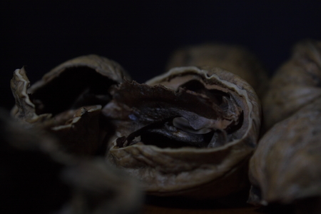 Shallow depth of field macro shot of bunch of empty walnut shells in the darkness