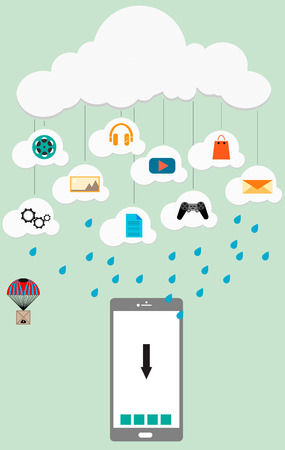 musik: Illustration of phone, which comes from the cloud services video, music, games and etc.