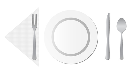 napkin: Table set consisting of plate, spoon, fork, knive and napkin.