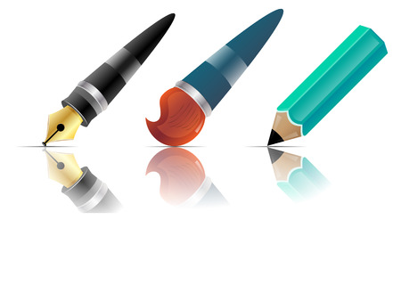 creative arts: Image of pen, pencil and brush with mirror image