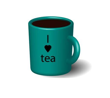 black tea: Green cup of black tea.