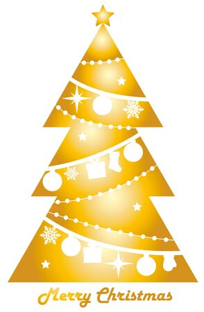 gold color: Christmas tree in gold color Illustration