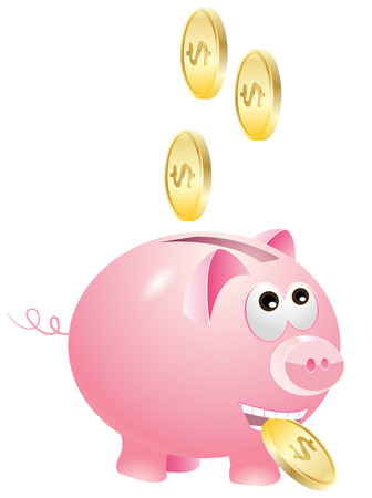 which: Piggy bank which enjoys gold coins Illustration