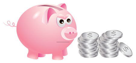 silver coins: Piggy bank that is not very happy with silver coins