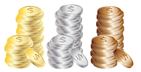 gold and silver coins: Coins: Gold, silver, bronze Illustration