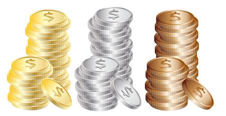 gold silver bronze: Coins: Gold, silver, bronze Illustration