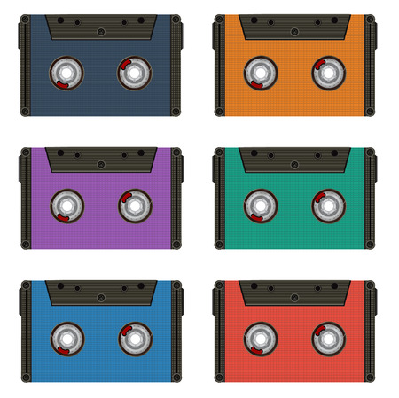 compact cassette: Six multi colored cassettes. Illustration