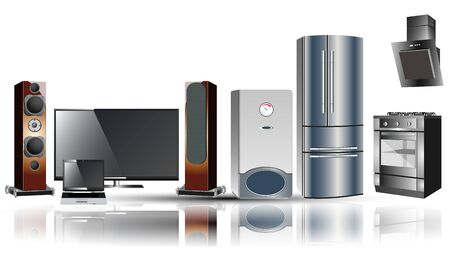 extractor: Home appliances: stove, extractor, fridge, boiler, TV, laptop, speakers.