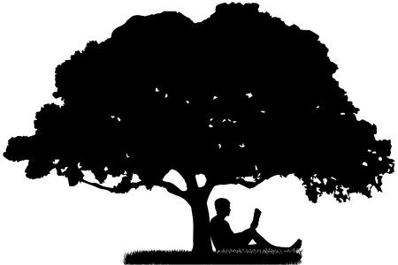 Człowiek, który siedzi pod drzewem i czyta książkę.