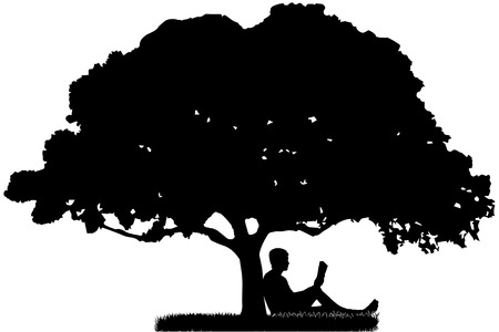 The man who is sitting under a tree and reading a book.
