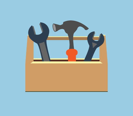 tooling: Box with tools. Wrench and hammer. Icon. Illustration