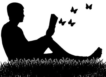 풀밭에 앉아서 책을 읽는 남자. 벡터 (일러스트)