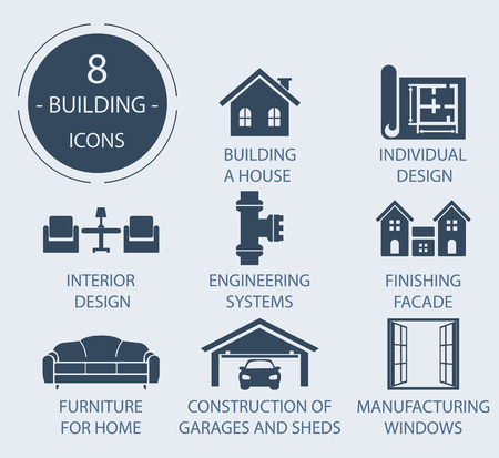 domestic garage: The icons on the theme - Construction of the house, working.