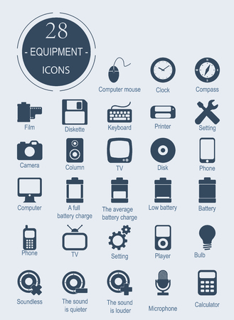 electronic devices: Icons with electronic devices.