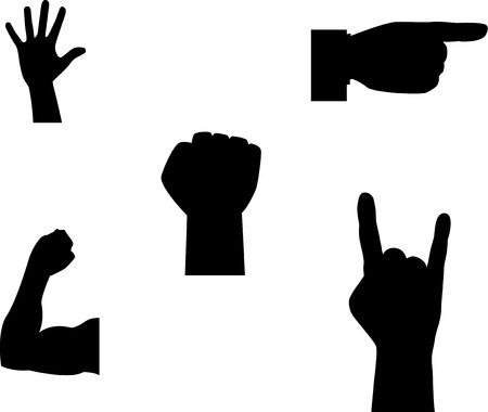 two thumbs up: A set of hand gestures. Silhouette. Illustration.