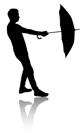 strong wind: Silhouette of man with umbrella. Strong wind. Illustration