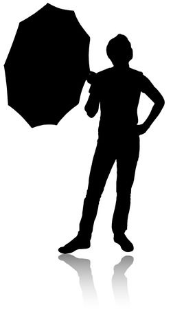 Silhouette of man with umbrella. Check whether there is rain.