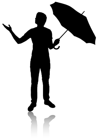whether: Silhouette of man with umbrella. Check whether there is rain.