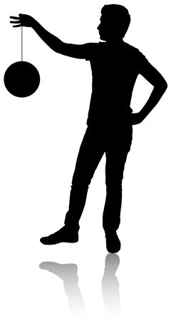 Silhouette of a person who holds on rope a planet.