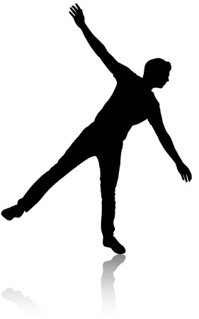 Silhouette of a man who stands on one leg.