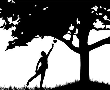 Silhouette of the man who pulls the apple.