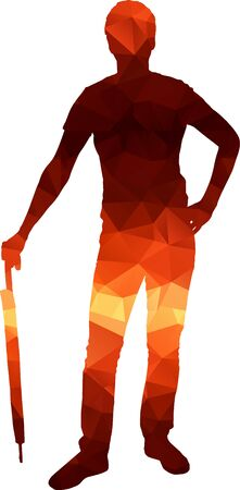 Poligon silhouette of man with umbrella. Shelter from the rain. Illustration