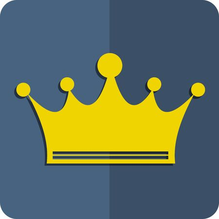 The flat crown icon. Gold crown on a blue background.