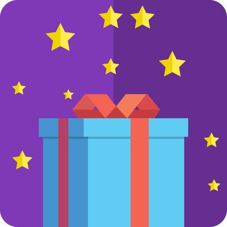 The flat gift icon. Box with a gift on a purple background.