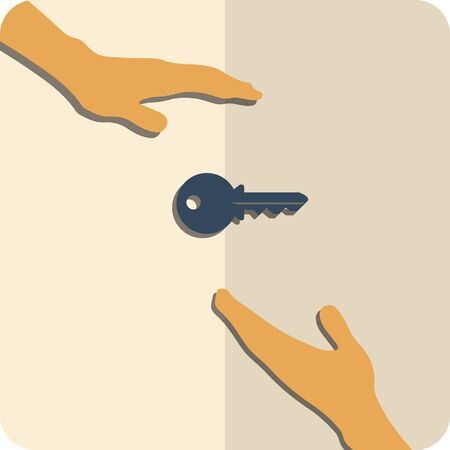 home ownership: Flat icon on which one person sends another person a key.