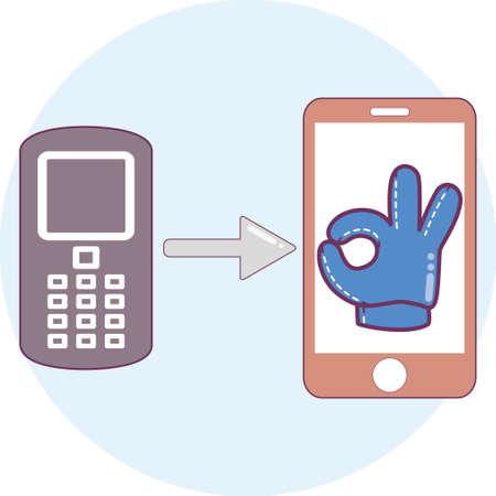 Sharing icon on round background. Telephone exchange.