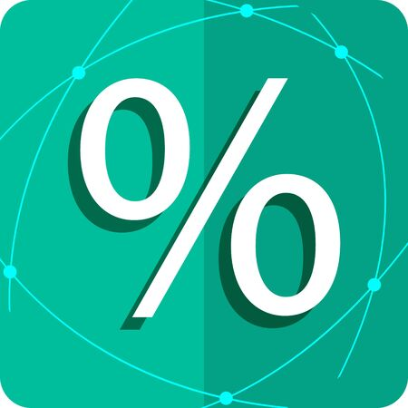 Flat icon percent. Percent on a green background.