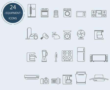 Line icons of home appliances. 24 units Standard-Bild