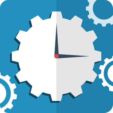 Flat Icon hours. Hours on a blue background with the gears.