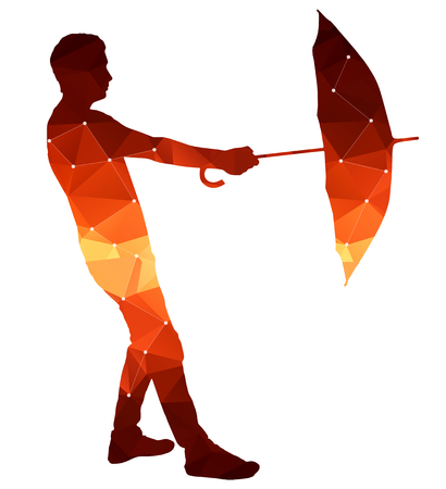 Polygon silhouette of a man with an umbrella. Strong wind.