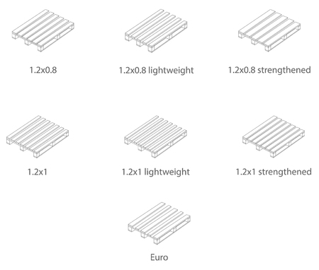 Pallets of various sizes in the linear design. Vector.