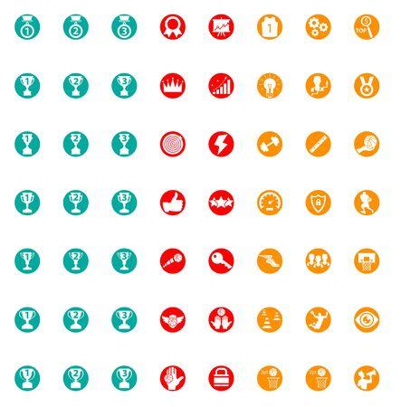 Set of flat icons on basketball. 56 items.
