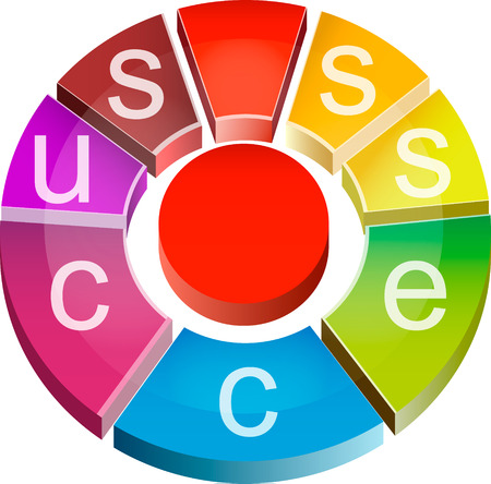 Colorful three-dimensional mark - success. Round sign.